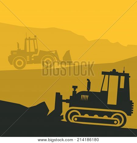 Tractors on work at construction site. Tractor grader bulldozer silhouette vector illustration