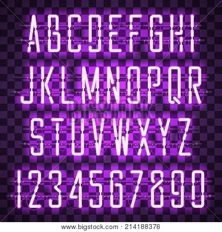 Glowing Purple Neon Casual Script Font with uppercase letters from A to Z and digits from 0 to 9 with wires tubes brackets and holders. Shining and glowing neon effect. Vector illustration.