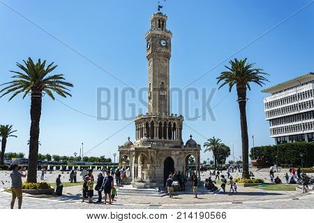 Izmir Turkey - Jully 08 2017: The tower is built in the Ottoman architectural style.symbol of izmir