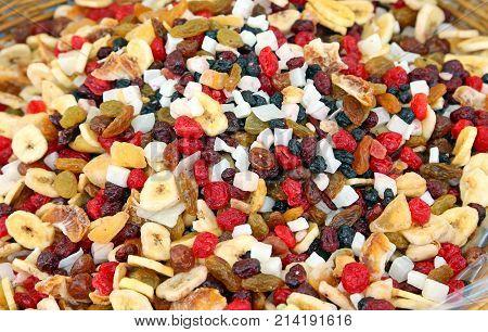 Many Dried Fruits Cherry Banana Cocco Raisins