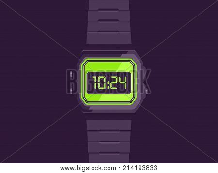 Electronic watch. Electronic hand watch vector illustration