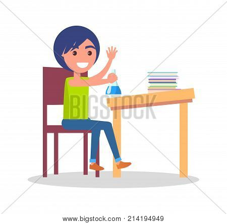 Minimalistic vector poster of schoolkid sitting at school table with different colorful books and copybooks, holding flask with light-blue liquid.