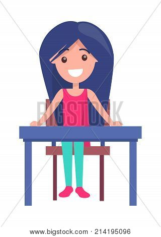 Back to school poster with smiling youngster sitting at empty table, vector illustration with schoolgirl at desk isolated on white background