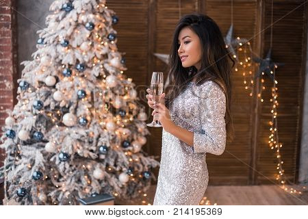 Wish you a Merry Christmas! Girl in a beautiful dress with a glass of champagne. Happy feeling to New Year. Christmas party! 2018
