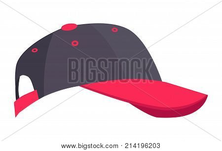 Colorful minimalistic vector image of black-colored headdress with crimson visor and some other inserts. Cap icon isolated on white background.