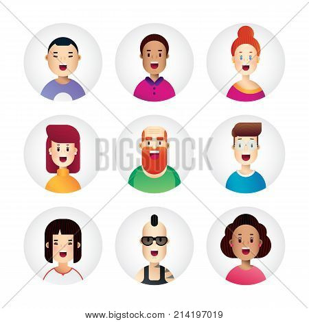 Awesome people avatar collection in new flat design style. Bussiness icons for web, app and print design. Vector illustration.