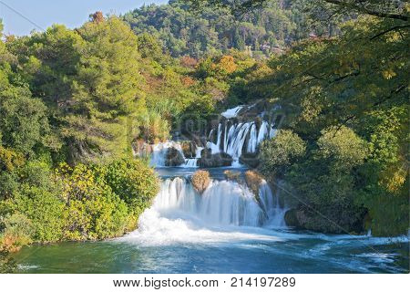 Rapids, whitewater and cascading waterfall in the national park Krka, Croatia poster