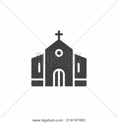 Church building icon vector, filled flat sign, solid pictogram isolated on white. Catholic church symbol, logo illustration.