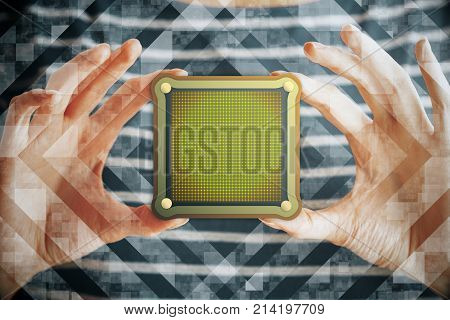 Hands holding abstract web banner with copy space on creative background . Advertisement message internet concept. Mock up. Double exposure