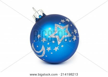 Cristmas Decoration, Glass Blue Ball Isolated On White Background. New Year Object