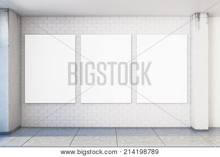 Modern White Brick Interior With Empty Posters