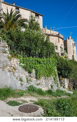 View of Tourrettes-sur-Loup a medieval village in the Alpes-Maritimes department in southeastern France