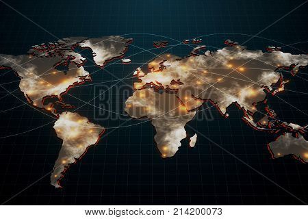 Abstract digital map on black grid background. Global business and network concept. 3D Rendering