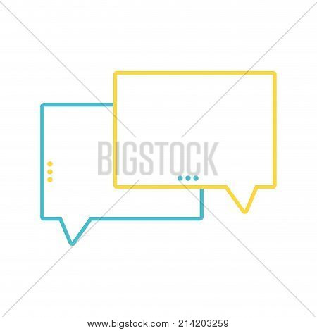 line chat bubbles text notes message vector illustration