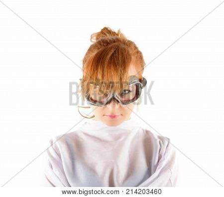 Young insane woman with straitjacket with pilot glasses.