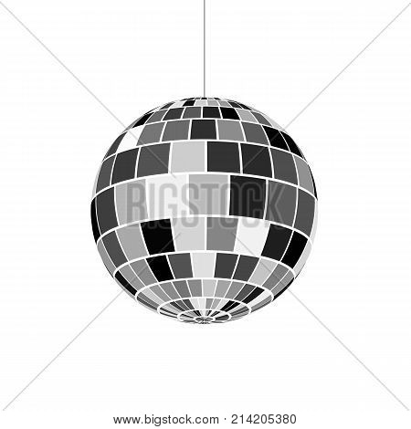 Disco ball icon. Symbol nightlife of 70s. Retro disco party. Vector illustration