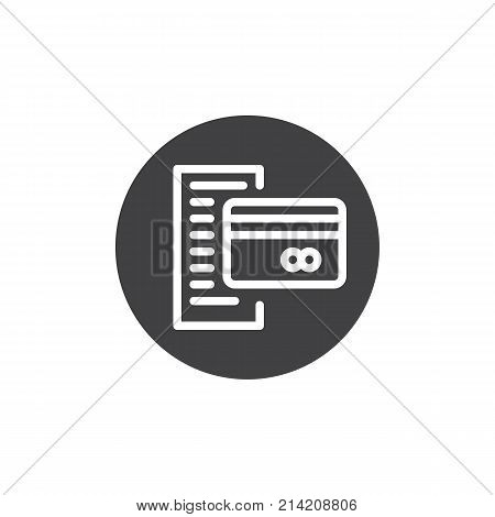 Bank statement with credit card icon vector, filled flat sign, solid pictogram isolated on white. Bill symbol, logo illustration.