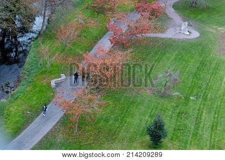 November 17th, 2017, Blarney, Ireland - View from the top of Blarney Castle, a medieval stronghold in Blarney, near Cork, Ireland, and the River Martin.
