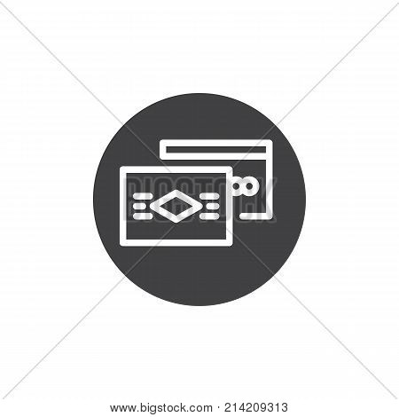 Debit and credit card icon vector, filled flat sign, solid pictogram isolated on white. Payment method symbol, logo illustration.