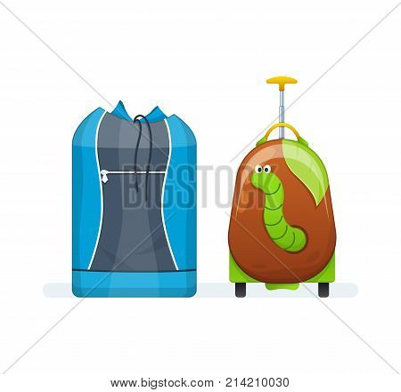 Sports bag for active everyday life and children travel suitcase on wheels. Journey package, business travel bag, trip luggage. Collection different bags, suitcases, luggage. Vector illustration.