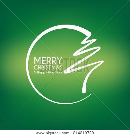 abstract merry christmas and happy new year card line, christmas tree circle concept background, vector illustration
