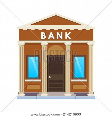 Modern city bank building facade. Financial activity, customer service, work with money, deposits, partnership. City street municipal office building bank. Urban landscape. Vector illustration.