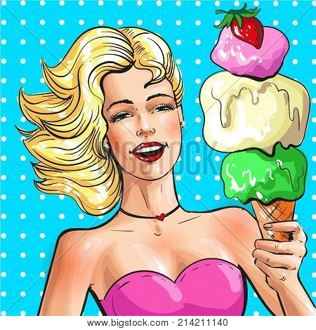 Vector illustration of beautiful blonde woman with tasty ice cream cone. Pin-up girl portrait in retro pop art comic style.