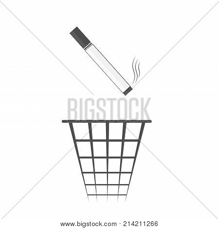 Throwing Cigarette Butts Into Trash Bin. Bad Habit. Health Care. Leave Off Smoking. Vector Illustrat