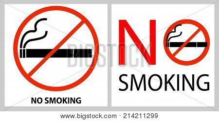 No Smoking Label Isolated On White Background. Bad Habit. Health Care. Vector Icon Illustration.  Fl