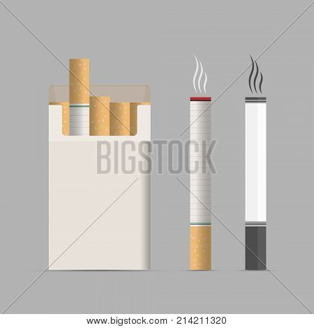 Opened Pack Of Cigarettes Isolated On Gray Background. Bad Habit. Health Care. Leave Off Smoking. Ve