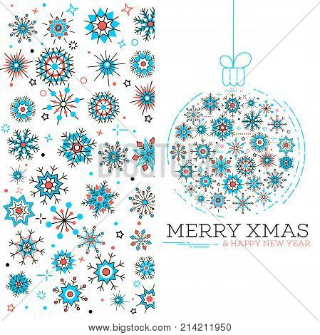 Merry xmas and happy new year greeting card. Winter holidays congratulation banner with christmas ball and snowflakes in trendy linear style. Christmas postcard, creative vector illustration.