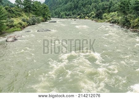 View of Paro River from the iron bridge of Tamchog Lhakhang Monastery Paro River Bhutan Asia
