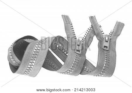 Close-up plastic zipper on a white background