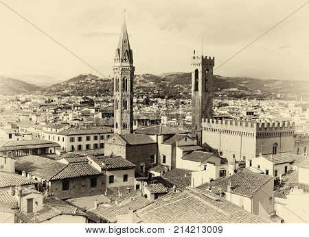 Florence Cityscape in Black and White Sepia Tone in Italy including Bargello Palace