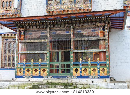 Traditional Bhutanese Temple Architecture In Bhutan, South Asia.