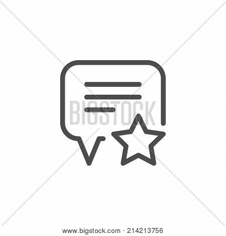 Feedback line icon isolated on white. Vector illustration