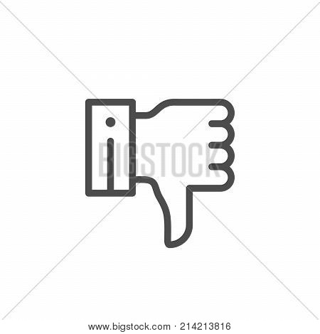 Thumb down line icon isolated on white. Vector illustration