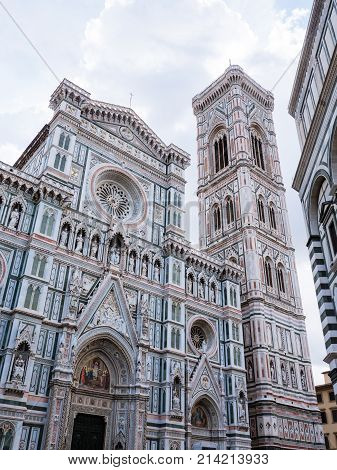 Exterior of cathedral or duomo of Florence, offically called Basilica of Santa Maria del Fiore