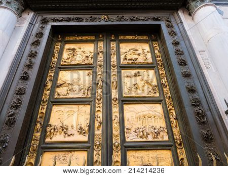 Golden east doors of the Baptistery of Saint John in Florence depicting the Gates of Paradise made by Lorenzo Ghiberti