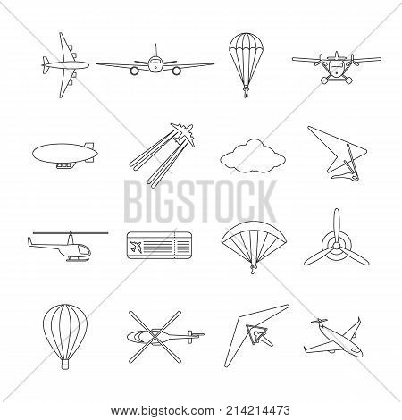 Isolated black outline hydroplane airplane parachute helicopter propeller hang-glider dirigible paraglide balloon Set of line aviation icon