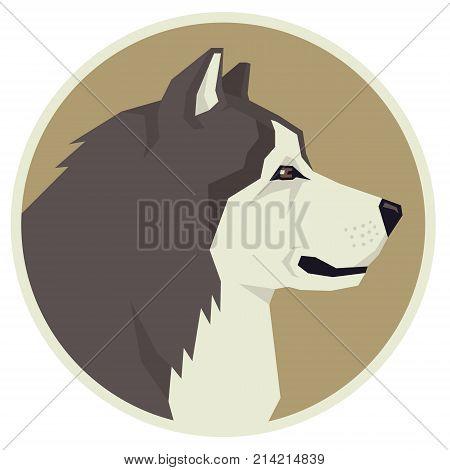 Dog collection Alaskan Malamute Geometric style Avatar icon round set