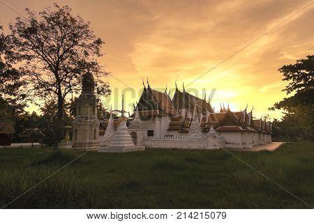 Evening sky at Wat Yai-Suwanaram Phetchaburi Thailand.