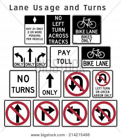 Regulatory Traffic Sign. Lane Usage And Turns. Flat Design. Vector Illustration.
