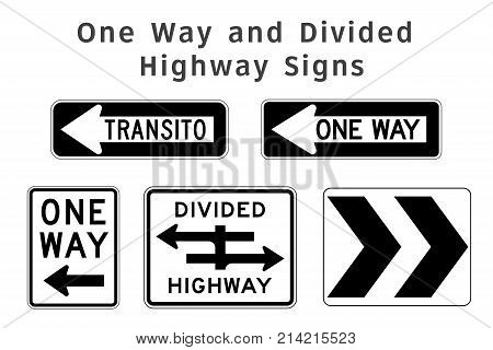 Regulatory Traffic Sign. One Way And Divided Highway. Vector Illustration.