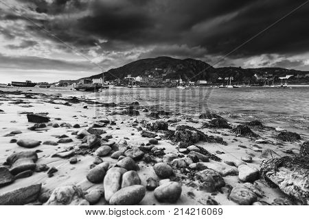Barmouth Port Across the Mawddach Estuary at Low Tide Black and White