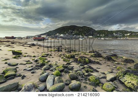 Barmouth Port Across the Mawddach Estuary at Low Tide