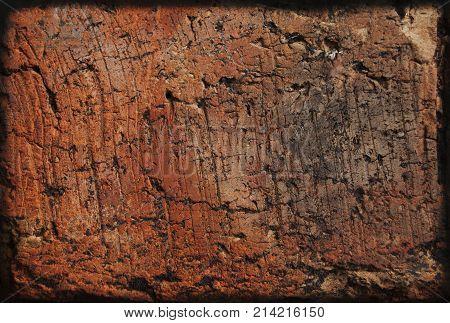 Brick wall background, orange redbrick, scratched surface