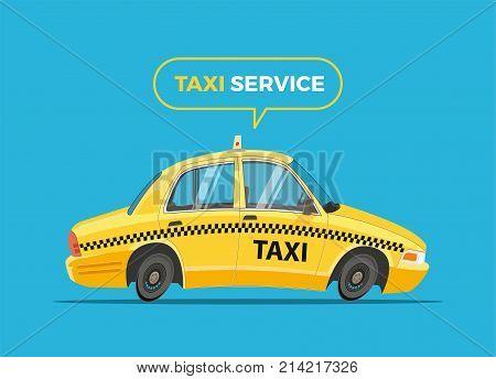 Cartoon Taxi Vector Illustration. Funny yellow   cab.