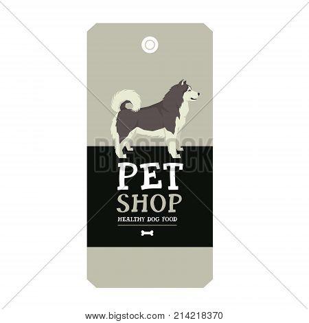 Poster Pet Shop Design label Alaskan Malamute Geometric style set