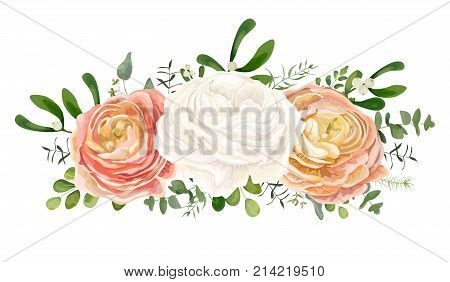 Vector floral bouquet with White pink peach Ranunculus flower Eucalyptus branch mistletoe leaves greenery mix delicate garland. Greeting postcard wedding invite cute card design. Editable & isolated